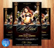 Birthday / All Black Flyer Template by Grandelelo
