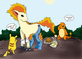 Ash into Ponyta commish by RustyRaccoon