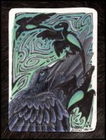 Raven Wheel-turner Card by Nashoba-Hostina