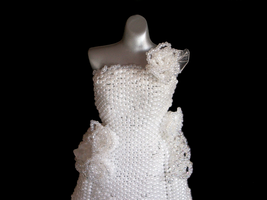 White Wedding Bead Dress Glamour Shot by pinkythepink