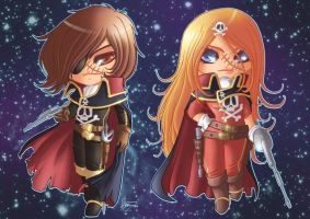 Emeraldas and Harlock +COM+ by Flfleur