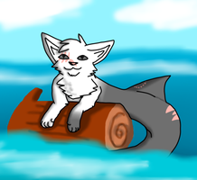 Scar floating on a log by YoshiTheWolf