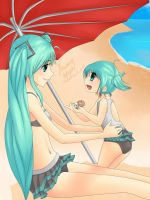 Day at the Beach [Miku and little Miku] by Strawberry-Kytlynn