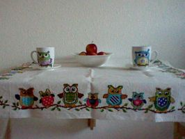 Cross stitch table cloth owl by Anim-Soul