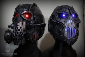 Light up DJ cyberpunk helmets by TwoHornsUnited