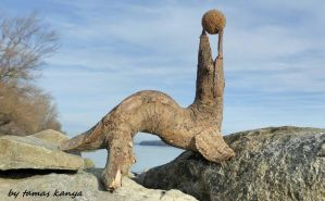 Driftwood art-Seal with ball in Hungary by kanya by tom-tom1969