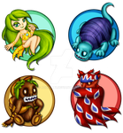 Chibi Archfiends of the elements by Azurelly