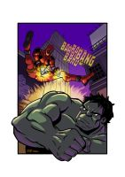 Deadpool vs. Hulk by sirandal