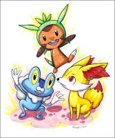 Gen VI: Chespin, Fennekin and Froakie by aQuaMu