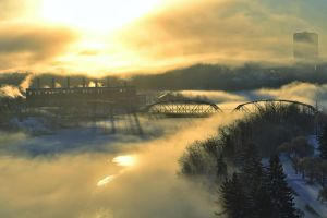 Ice Fog over North Saskatchewan River at dawn by Jwondga