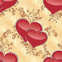 seamless texture with hearts and ornaments by Lyotta