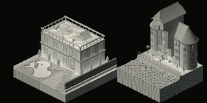 Game Assets, buildings (isometric view, Wireframe) by TSF98