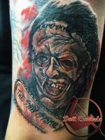 Leatherface tattoo by dottcrudele