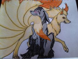 Mightyena x Ninetails (Poke-couple) by inukurosaki