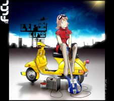FLCL - The Vespa Girl --ES-- by fox-orian