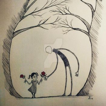 Giving a Flower to Slenderman by TexasBean