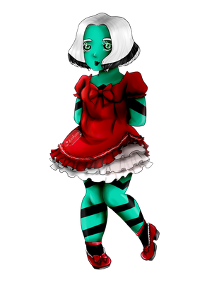 Red doll dress by Korhann
