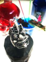 Silver Tiki Ring by flintlockprivateer