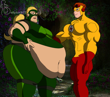 Artemis SSBBW and Kid Flash by bellylov3r77