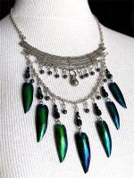 Green jewel beetle necklace by Tekerror