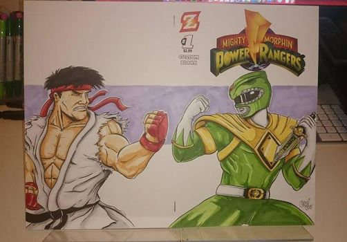 Green Ranger vs. Ryu on Power Rangers #1 Blank by DerFanboy