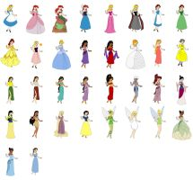Disney girls from dress up game by evilfuzzle2