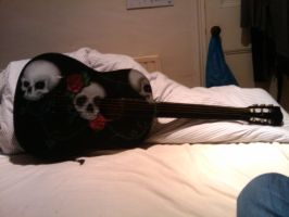 Black and Blue Skull Guitar by Dolhaus