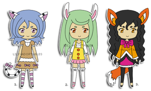 Adoptables 1,2,3 Kemonomimi CLOSED by lily-adoptables