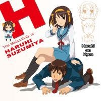 Haruhi on Kyon by DeannART