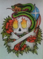 Skull and snake by UncleRucus