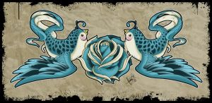 Love Birds - Tattoo Design by SugarSkullCandy