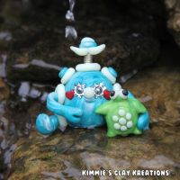 Polymer Clay Robot I Love Turtles Figurine by KIMMIESCLAYKREATIONS