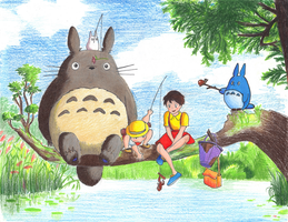 Hand drawn Totoro by Geo-met-me