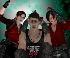 Dante sparda VS Ada and Claire by KrinNaa