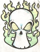 Tattoo Flash Skull and Flames by Noma-the-Fox