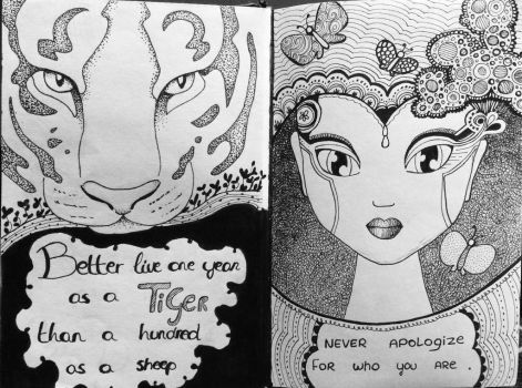 2 pages from my art-journal by Mooniilla