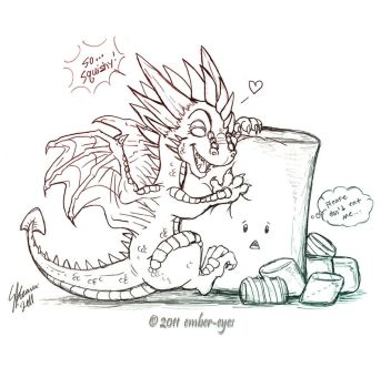 Dragon + Marshmallow by Ember-Eyes