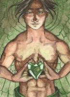 ACEO Emerald Angel by AngelaSasser