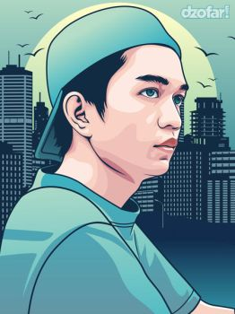 Boy with Hat in Turquoise Vector by ndop
