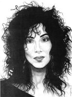 Cher from a 1987 photo. by chriswarrenart