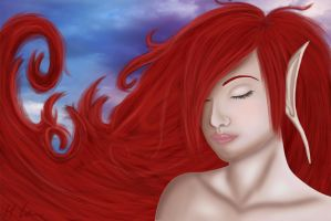 Dreams of hope on the red waves by Helena-Lou