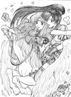 Lyn and Florina on pegasus by Autumn-Sacura