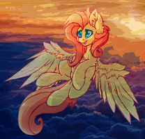 Fluttershy's Sunset (COLLAB) by iRoxykun