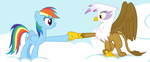 Rainbow Dash And Gilda Hoof Fist Bump On Clouds by TomFraggle
