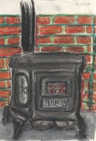 Wood stove oil pastels by philippeL