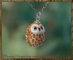Ceramic Owl Pendant - Golden Brown by StephaniePride