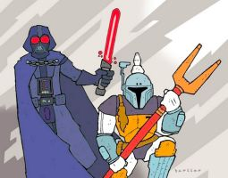 Retro Vader and Fett by Hartter