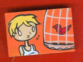 Wood block bird cage by kettleart