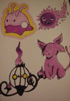 Goomy, Ghastly, Chandelure #1, Espeon by xSammyKayx