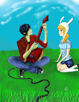 Marshall Lee and Fionna by katurkeyg